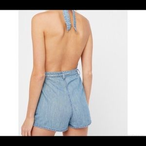 39f44b5d6e3b Free People Pants - Free People Blossoming Chambray Romper